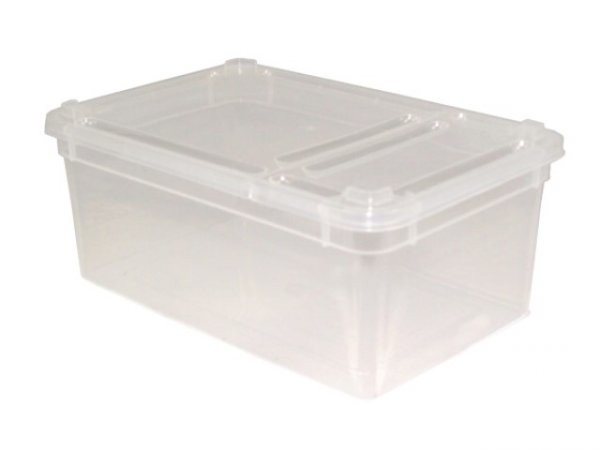 Kunststoffdose Braplast mit Klappdeckel 1,3L, transparent