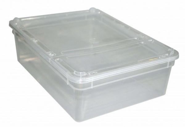 Kunststoffdose Braplast mit Klappdeckel gelocht, 3L transparent