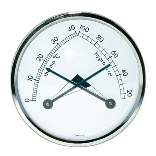 Dragon Thermo/Hygrometer analog weiss, rund mit Silberring